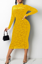 Yellow Sexy Solid Split Joint See-through Burn-out O Neck A Line Dresses