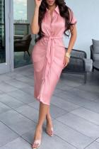 Pink Fashion Casual Solid Fold Turndown Collar Pencil Skirt Dresses