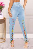Light Blue Fashion Casual Solid Bandage High Waist Skinny Jeans