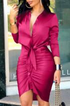 Rose Red Fashion Street Print Split Joint V Neck Irregular Dresses