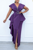 Purple Fashion British Style Solid Split Joint V Neck Irregular Dresses