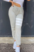 Grey Casual Striped Print Split Joint Straight High Waist Straight Positioning Print Bottoms