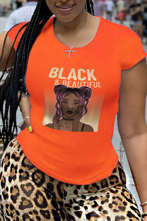 Orange Fashion Street Print Letter O Neck T-Shirts