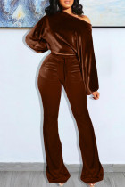 Coffee Fashion Casual Solid Basic Oblique Collar Long Sleeve Two Pieces