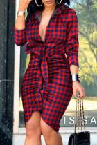 Burgundy Fashion Street Print Split Joint V Neck Irregular Dresses