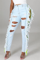 Light Color Fashion Casual Solid Ripped Embroidered Hollowed Out High Waist Jeans