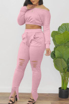 Pink Casual Solid Ripped Split Joint Oblique Collar Long Sleeve Two Pieces