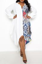 White Fashion Casual Plus Size Patchwork Print Asymmetrical Turndown Collar Shirt Dress