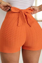 Orange Casual Sportswear Solid With Bow Shorts
