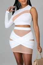 White Sexy Solid Split Joint See-through Asymmetrical O Neck Long Sleeve Two Pieces