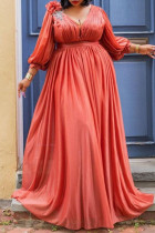 Red Fashion Sexy Solid Slit V Neck Long Sleeve Plus Size Dresses