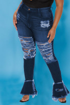 The cowboy blue Sexy Solid Ripped Split Joint Plus Size Jeans