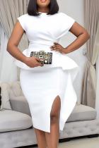 White Casual Solid Flounce O Neck Irregular Dress Dresses