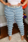 Baby Blue Casual Solid Tassel Plus Size Jeans