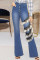 Blue Fashion Casual Patchwork Buttons High Waist Regular Jeans