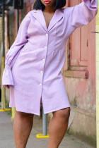 Purple Fashion Casual Solid Split Joint Turndown Collar A Line Plus Size Dresses