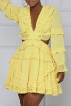 Yellow Fashion Sexy Solid Hollowed Out V Neck Long Sleeve Dresses