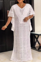 White Fashion Sexy Plus Size Solid Hollowed Out See-through V Neck Irregular Dress