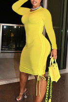 Yellow Sexy Solid Split Joint Draw String Fold O Neck Pencil Skirt Dresses