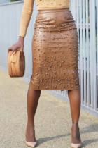 Brown Vogue Nail Bead Design Slim PU Knee Length Skirts