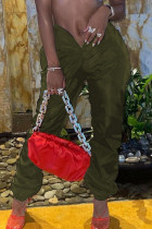Army Green Sexy Solid Split Joint Draw String Fold Asymmetrical Straight Low Waist Straight Solid Color Bottoms