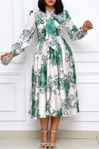 Green Fashion Casual Print With Bow V Neck Long Sleeve Dresses