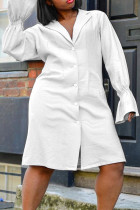 White Fashion Casual Solid Split Joint Turndown Collar A Line Plus Size Dresses