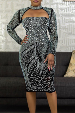 Black Sexy Solid Hollowed Out Split Joint Hot Drill O Neck A Line Dresses