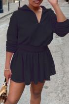 Black Casual Sportswear Solid Split Joint Fold Zipper Collar Long Sleeve Two Pieces