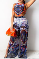 Blue Fashion Sexy Print Hollowed Out Slit O Neck Sleeveless Two Pieces