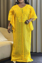 Yellow Fashion Sexy Plus Size Solid Hollowed Out See-through V Neck Irregular Dress