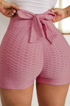 Coral Powder Casual Sportswear Solid With Bow Shorts