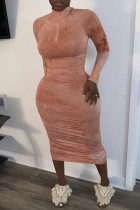 Pink Casual Solid Split Joint Zipper Collar Pencil Skirt Dresses