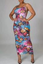 Multicolor Fashion Sexy Print Backless Slit Spaghetti Strap Long Dress
