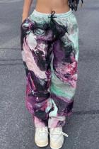 Purple Street Print Split Joint Loose High Waist Straight Full Print Bottoms