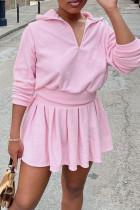 Pink Casual Sportswear Solid Split Joint Fold Zipper Collar Long Sleeve Two Pieces