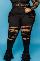 Black Sexy Solid Ripped Split Joint Plus Size Jeans