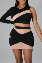 Black Sexy Solid Split Joint See-through Asymmetrical O Neck Long Sleeve Two Pieces
