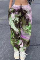 Fluorescent Green Street Print Split Joint Loose High Waist Straight Full Print Bottoms