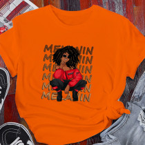 Orange Casual Street Character Split Joint O Neck T-Shirts