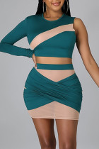 Green Sexy Solid Split Joint See-through Asymmetrical O Neck Long Sleeve Two Pieces