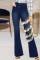Dark Blue Fashion Casual Patchwork Buttons High Waist Regular Jeans