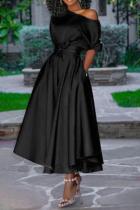 Black Casual Solid Split Joint One Shoulder Cake Skirt Dresses