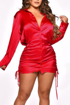 Red Sexy Solid Split Joint Draw String Buckle Fold Turndown Collar Shirt Dress Dresses
