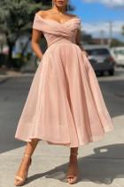 Pink Fashion Elegant Solid Split Joint V Neck Princess Dresses