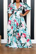 Blue Sexy Print Split Joint Turndown Collar Irregular Dress Dresses