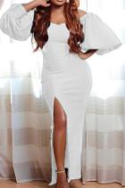 White Elegant Solid Split Joint Slit Off the Shoulder Evening Dress Dresses