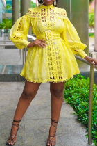 Yellow Sexy Solid Hollowed Out Half A Turtleneck Cake Skirt Dresses
