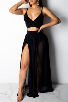 Black Fashion Sexy Solid Split Joint Backless Spaghetti Strap Sleeveless Two Pieces