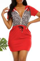 Red Fashion Casual Print Leopard Split Joint Oblique Collar Short Sleeve Dress